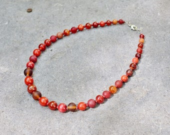 Elegant Red Necklace, Beaded Necklace, Ethnic Jewelry, Round Beads Necklace, Boho Chic Jewelry, Gemstone Necklace, Mom Gift for Her