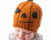 Pumpkin Hat KNITTING PATTERN / Pumpkin Hat Pattern / Jack o Lantern Hat / Funny Halloween Hat / My First Halloween / Baby Pumpkin Hats