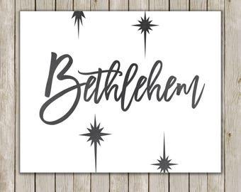 8x10 Christmas Printable, Bethlehem Art, Typography Print, Bethlehem Star Religious Print, Holiday Decor, Holiday Art, Instant Download