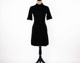Black Sweater Dress Women XS Small Short Sleeve Cotton Turtleneck Midi Dress Cable Knit Dress Black Dress Vintage Clothing Womens Clothing
