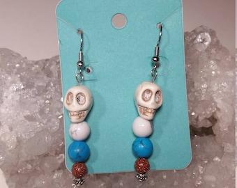Natural Stone Skull Earrings