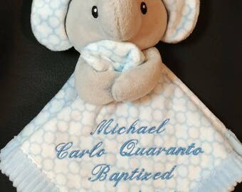 blue elephant lovey security blanket custom personalized embroidered baby gift