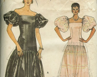 Vogue 8646 Vintage 1980's Puffy Sleeve Dress Sewing Pattern