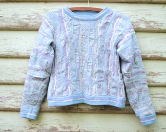 Vintage 80s Coogi Sweater Wool Jumper1 980s Kitsch Pastel Vtg Knitted Retro Pullover Size XS