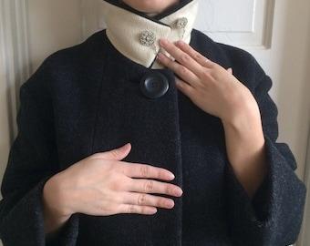 60's Vintage Wool Swing Coat, Heather Grey, Winter Warm Long Trench T Length, Gray Medium Large