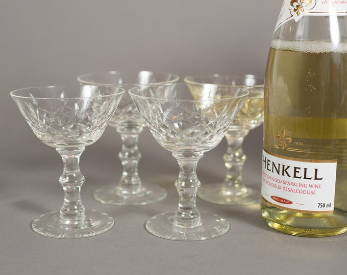 Vintage Champagne Coupe Glasses - Set of 4 Etched Diamond Cut Glasses - Mid Century Modern Cocktail Glasses