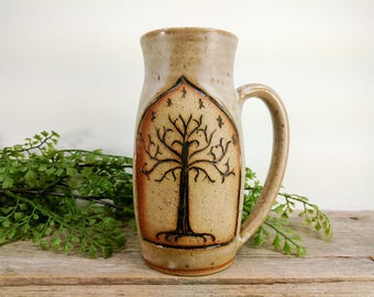 Tree of Gondor - Lord of the Rings Mug - 16 oz- Bright Speckled White - Wheel Thrown and Hand Carved Coffee Cup