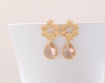Gold Champagne Earrings. Peach Flower Earrings. Bridal Jewelry. Bridesmaid Earrings. 925 Sterling Silver Post. Everyday Earrings.