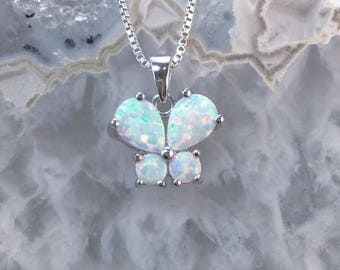 Opal Butterfly Necklace Sterling Silver FREE Gift Box FREE Shipping Codes Gift For Nature Butterfly Insect Lovers October Birthstone Jewelry