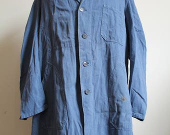 Vintage blue 1960s atelier trench duster french workwear jacket rrl