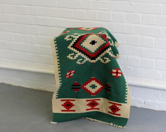 Hand Woven Green Kilim Rug Circa 1950s