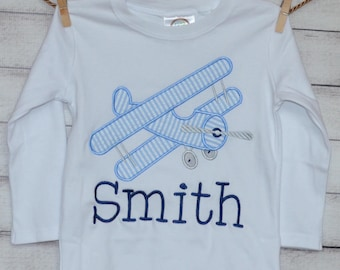 Personalized AirPlane Monogram Applique Shirt or Onesie Boy or Girl
