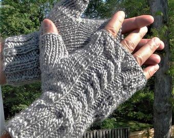 Fingerless Gloves Men's Hand Knit Cabled Light Gray Merino Wool & Mohair Men's Fingerless Gloves Light Gray Wool Mohair Cabled Men's Gloves