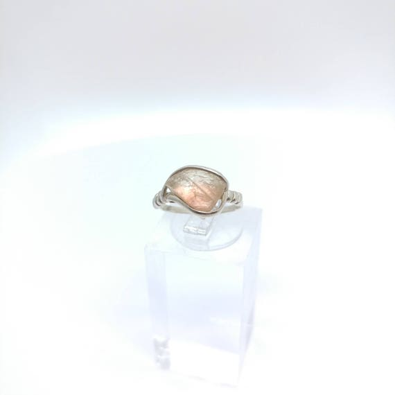 Oregon Sunstone Ring | Raw Crystal Ring | Sterling Silver Ring Sz 5 | Schiller Oregon Sunstone Ring | Raw Stone Ring | Rough Oregon Sunstone