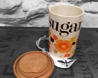 Vintage 70s Sugar Pot Jar Crown Devon Orange Floral Staffordshire