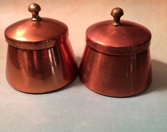 Pair of Small Copper Jars Made in Italy