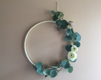 Eucalyptus Hoop Wood Wreath Greenery Flower Simple Minimalist Boho Bohemian Modern Wall Decor Hanging Nursery Crib Gift Idea Baby Shower