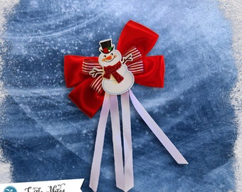 Red Ribbon Snowman Hair Bow | 3in French Barrette | Hand Crafted