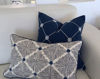 Cushions, Navy Cushions, Navy Pillows, Embroidered Cushion Cover, Wilshire Cushions, Scatter cushions, Pillows