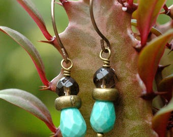 Simple Green Opal Earrings; Green and Brown Gemstone Dangle Earrings; Smoky Quartz Earrings