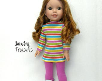 14 inch doll clothes AG doll clothes multi striped turtleneck tunic top and  rose pink leggings made to fit like wellie wishers doll clothes