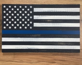 Thin Blue Line Sign, Thin Blue Line Wall Art, Wooden Thin Blue Line Sign, Police gift, Law Enforcement Officer gift, LEO sign