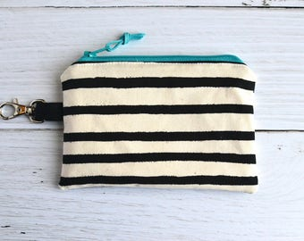 Coin Purse with Swivel Clip/ Mini Zipper Pouch/ ID Card Wallet/ Rifle Paper Co Wonderland Stripe