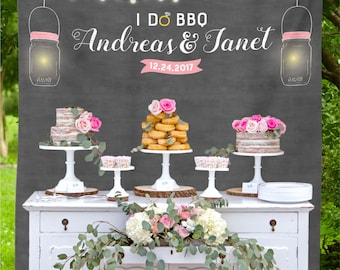 I Do BBQ Decorations Photo Backdrop Barbecue Engagement Party