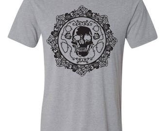 Skull and Roses Tri-blend Tee - by Kiss a Cow