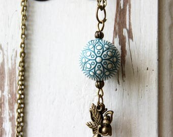 Necklace Pearl, fairy, bronze, boho, chain, fairy tail