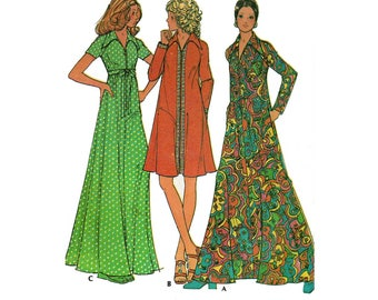 Women's Long Maxi Dress or Front Zipper Robe Sewing Pattern Misses Size Small 8-10 Uncut Vintage 1970's McCall's 3377