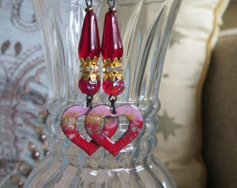 red heart earrings, red and pink romantic earrings, rhinestone earrings, long red earrings, heart jewelry, lightweight earrings, Valentine