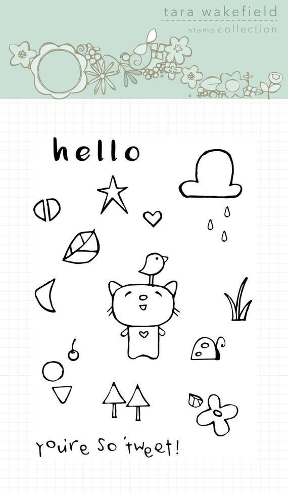 Tweet Kitty-clear stamp-card making-scrapbooking-kids crafting