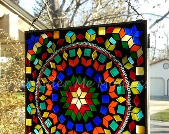 Stained Glass Mosaic - Geometric Rainbow
