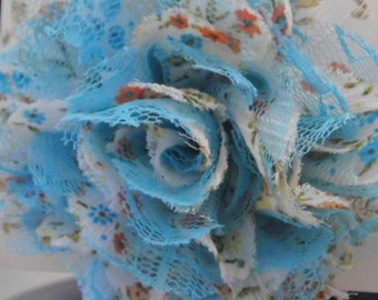 Blue Floral Print and Lace Large Flower Headband