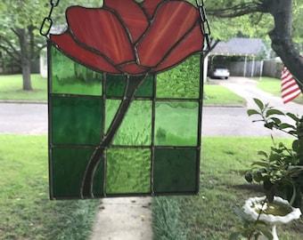 """California Poppy Stained Glass Window Suncatcher - 7"""" x 9"""""""