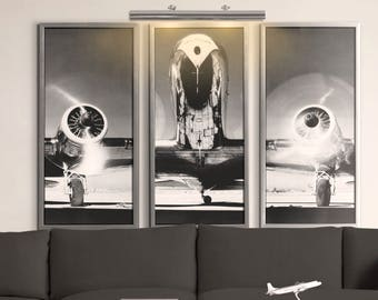 Airplane art etsy - Vintage airplane triptych ...
