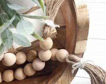 Wood Bead Garland - 3ft - Bead Garland - Farmhouse Decor - Farmhouse - Garland - Wood Beads - BoHo - Little Bo Peep