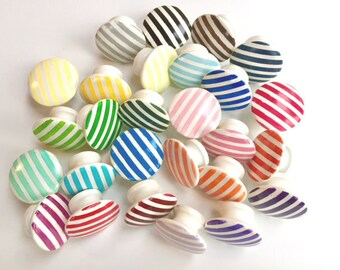 Mixed Striped Hand Painted Wooden Drawer Pulls Cabinet Knobs