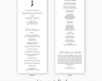 Printed Lighthouse Wedding Programs, Nautical Wedding Programs, Coastal Wedding Programs, Beach Wedding Programs