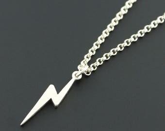 Sterling Silver Small Lightning Bolt Necklace