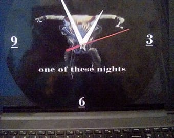 Brand New - The Eagles- One Of These Nights -  Wall Clock - Original -  Recycled 12 inch Vinyl Album Laminated Face