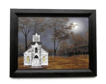 Church Picture, Evening Prayer, Billy Jacobs , Art Print, Wall Decor, Country Home Decor, Handmade, 15X21, Custom Wood Frame, Made in USA
