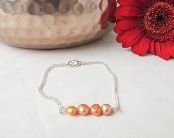 CLEARANCE Orange pearl bar bracelet, freshwater pearl bracelet, bridesmaids bracelet, pearl jewelry, wedding jewellery, handmade in the UK