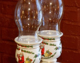 Two Vintage Franklin Mint Porcelain Candle Holders with Clear Glass Globes