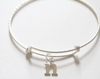 Sterling Silver Bracelet with Sterling Silver Typewriter N Letter Charm, Bracelet with Silver Letter N Pendant, Initial N Charm Bracelet, N