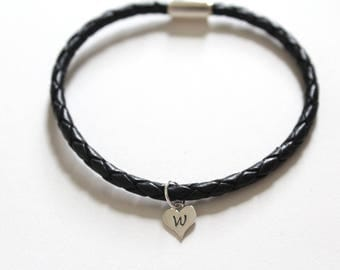 Leather Bracelet with Sterling Silver W Letter Heart Charm, Silver Tiny Stamped W Initial Heart Charm Bracelet, Letter W Charm Bracelet, W