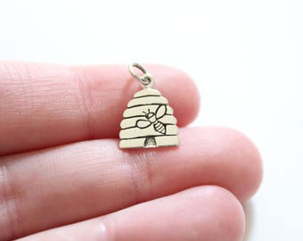 Sterling Silver Honey Bee Charm, Silver Beehive Charm, Beehive Charm, Bee Charm, Bee Pendant, Beehive Pendant, Honey Bee Pendant