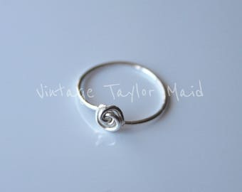 Fine Silver .999 Ring Handmade Simple Rustic Knot Design