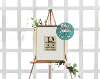 Framed Wedding Guestbook, Monogrammed Guestbook, Rustic Wedding Guest Book, Wedding Alternative Guest Book, Framed Guestbook